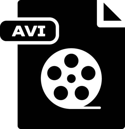Black AVI file document. Download avi button icon isolated on white background. AVI file symbol. Vector Illustration
