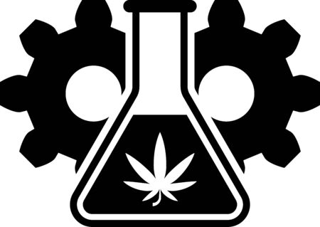 Black Chemical test tube with marijuana or cannabis leaf icon isolated on white background. Research concept. Laboratory CBD oil concept. Vector Illustration