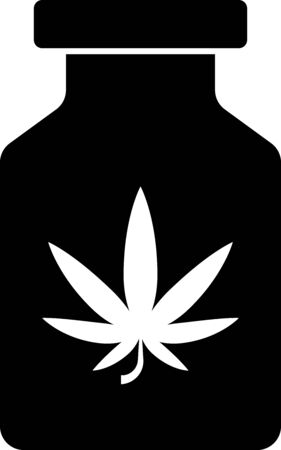Black Medical bottle with marijuana or cannabis leaf icon isolated on white background. Mock up of cannabis oil extracts in jars. Vector Illustration