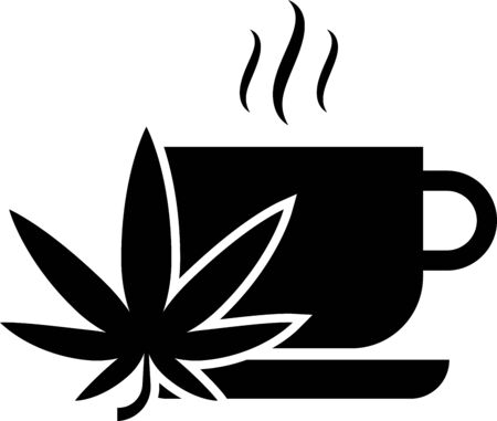Black Cup tea with marijuana or cannabis leaf icon isolated on white background. Marijuana legalization. Hemp symbol. Vector Illustration Illustration