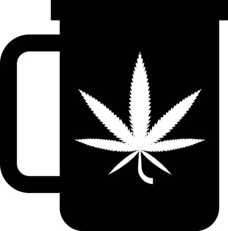 Black Cup tea with marijuana or cannabis leaf icon isolated on white background. Marijuana legalization. Hemp symbol. Vector Illustration Illustration