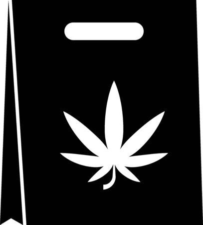 Black Shopping paper bag of medical marijuana or cannabis leaf icon isolated on white background. Buying cannabis. Hemp symbol. Vector Illustration
