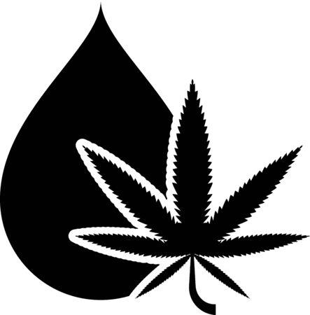 Black Medical marijuana or cannabis leaf olive oil drop icon isolated on white background. Cannabis extract. Hemp symbol. Vector Illustration Ilustração