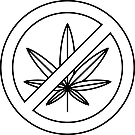 Black Stop marijuana or cannabis leaf icon isolated on white background. No smoking marijuana. Hemp symbol. Vector Illustration