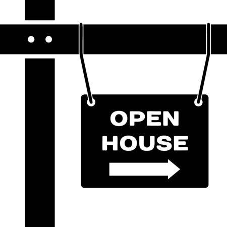 Black Hanging sign with text Open house icon isolated on white background. Signboard with text Open house. Vector Illustration Çizim
