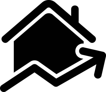Black Rising cost of housing icon isolated on white background. Rising price of real estate. Residential graph increases. Vector Illustration