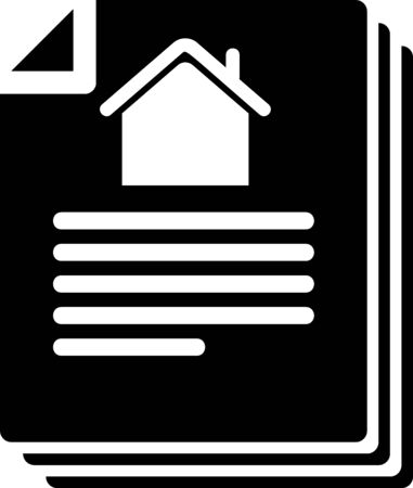 Black House contract icon isolated on white background. Contract creation service, document formation, application form composition. Vector Illustration Çizim
