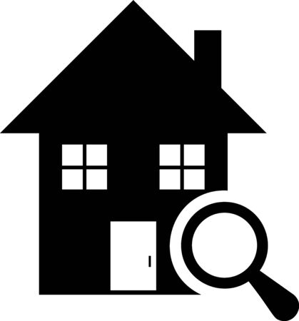 Black Search house icon isolated on white background. Real estate symbol of a house under magnifying glass. Vector Illustration
