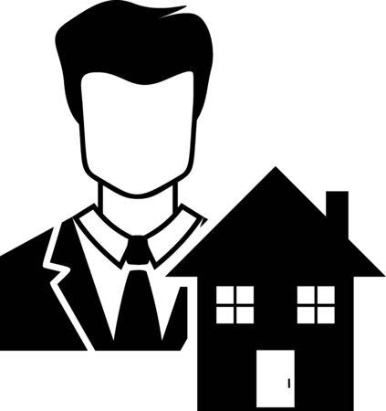 Black Realtor icon isolated on white background. Buying house. Vector Illustration Çizim