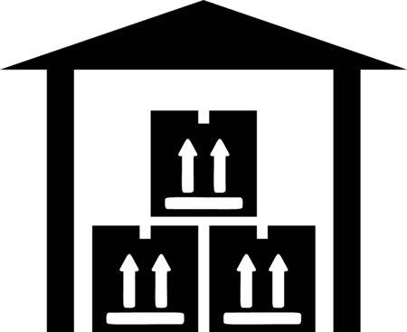 Black Warehouse icon isolated on white background. Vector Illustration