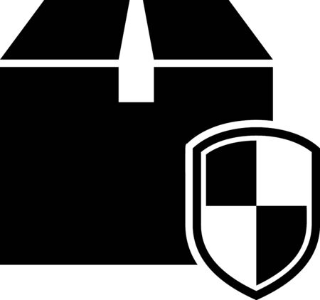 Black Delivery pack security symbol with shield icon isolated on white background. Delivery insurance. Insured cardboard boxes beyond the shield. Vector Illustration