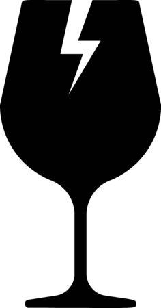 Black Fragile broken glass symbol for delivery boxes icon isolated on white background. Vector Illustration Standard-Bild - 133397837