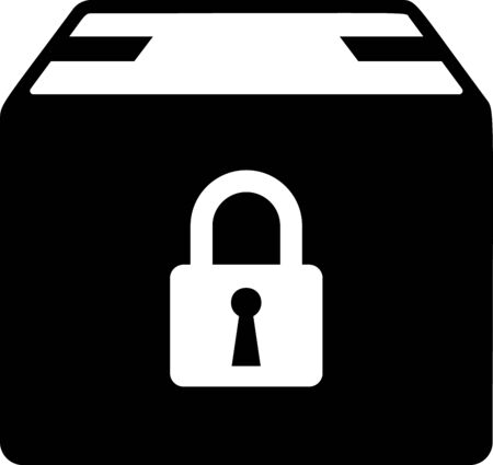 Black Locked package icon isolated on white background. Lock and cardboard box. Vector Illustration