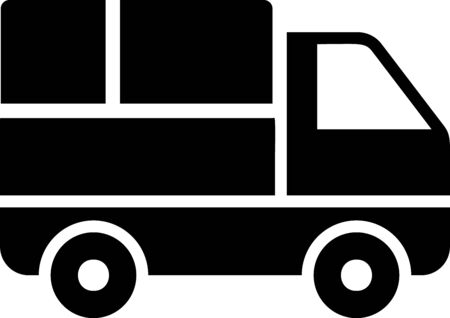 Black Delivery truck with cardboard boxes behind icon isolated on white background. Vector Illustration Stock Vector - 133397856