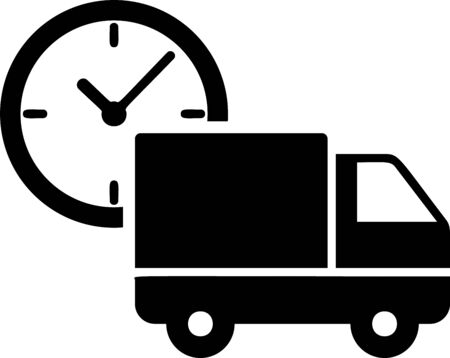 Black Logistics delivery truck and clock icon isolated on white background. Delivery time icon. Vector Illustration Stock Vector - 133397859