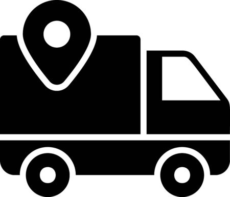 Black Delivery tracking icon isolated on white background. Parcel tracking. Vector Illustration