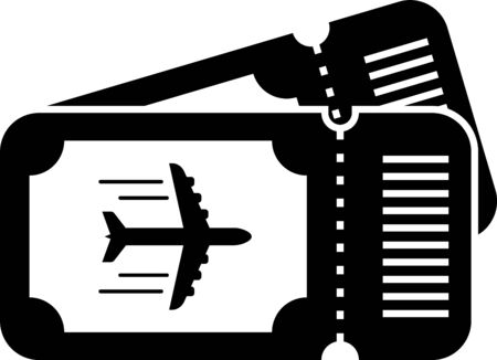 Black Airline ticket icon isolated on white background. Plane ticket. Vector Illustration