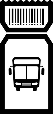 Black Bus ticket icon isolated on white background. Public transport ticket. Vector Illustration
