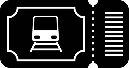 Black Train ticket icon isolated on white background. Travel by railway. Vector Illustration