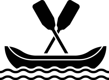 Black Rafting boat icon isolated on white background. Kayak with paddles. Water sports, extreme sports, holiday, vacation, team building. Vector Illustration Stock Illustratie