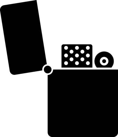 Black Lighter icon isolated on white background. Vector Illustration Foto de archivo - 133407596