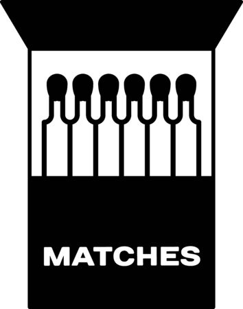 Black Open matchbox and matches icon isolated on white background. Vector Illustration