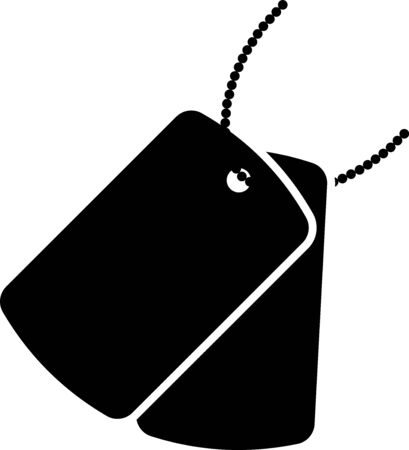 Black Military dog tags icon isolated on white background. Identity tags icon. Army sign. Vector Illustration Ilustracja