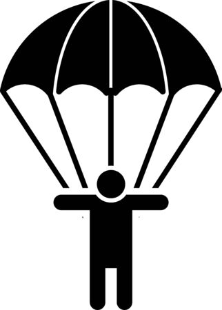 Black Parachute and silhouette person icon isolated on white background. Vector Illustration Vecteurs