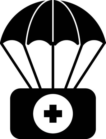Black Parachute with first aid kit icon isolated on white background. Medical insurance. Vector Illustration