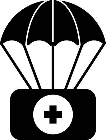 Parachute noir avec icône de trousse de premiers soins isolé sur fond blanc. Assurance médicale. Illustration vectorielle