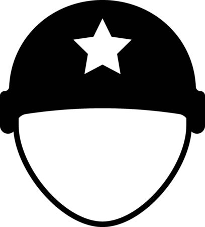 Black Military helmet icon isolated on white background. Army hat symbol of defense and protect. Protective hat. Vector Illustration