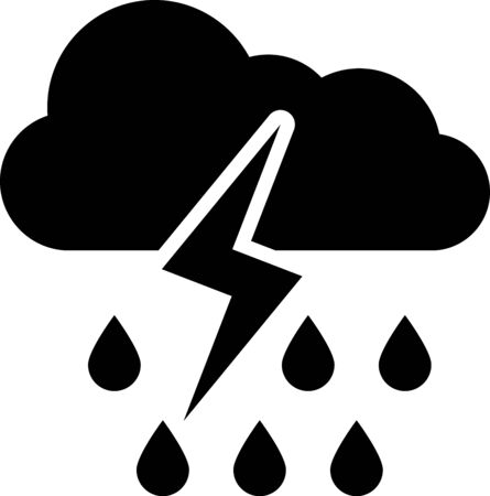 Black Cloud with rain and lightning icon isolated on white background. Rain cloud precipitation with rain drops.Weather icon of storm. Vector Illustration 일러스트