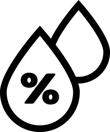 Black Water drop percentage icon isolated on white background. Humidity analysis. Vector Illustration