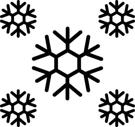 Schwarzer Schnee-Symbol auf weißem Hintergrund. Vektorillustration