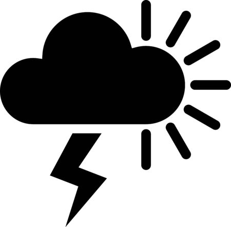 Black Storm icon isolated on white background. Cloudy with lightning and sun sign. Weather icon of storm. Vector Illustration
