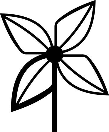 Black Pinwheel icon isolated on white background. Windmill toy icon. Vector Illustration