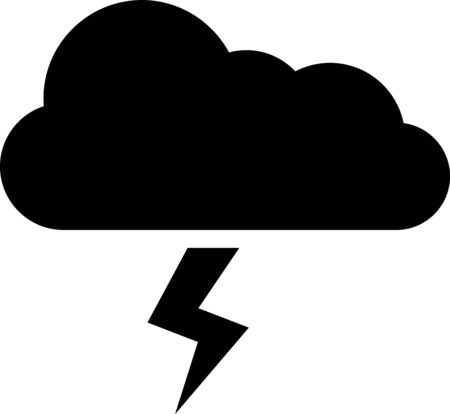 Black Storm icon isolated on white background. Cloud and lightning sign. Weather icon of storm. Vector Illustration Illusztráció