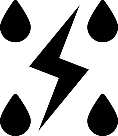 Black Storm icon isolated on white background. Drop and lightning sign. Weather icon of storm. Vector Illustration
