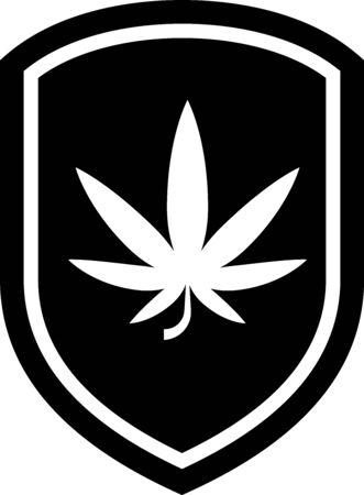 Black Shield and marijuana or cannabis leaf icon isolated on white background. Marijuana legalization. Hemp symbol. Vector Illustration