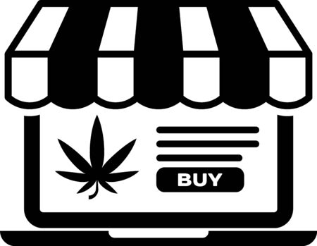 Black Laptop and medical marijuana or cannabis leaf icon isolated on white background. Online buying symbol. Supermarket basket. Vector Illustration Stock fotó - 133399035
