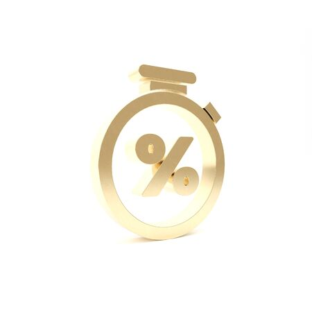Gold Stopwatch and percent discount icon isolated on white background. Time timer sign. 3d illustration 3D render