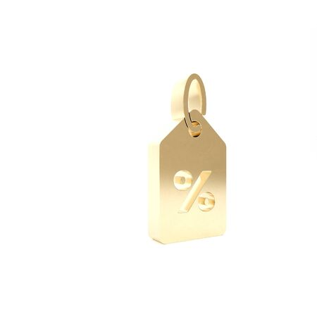 Gold Discount percent tag icon isolated on white background. Shopping tag sign. Special offer sign. Discount coupons symbol. 3d illustration 3D render