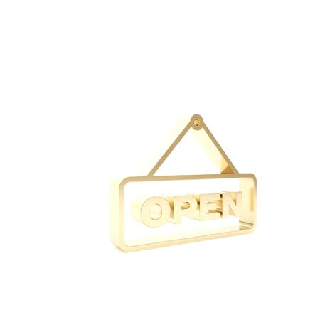 Gold Hanging sign with text Open door icon isolated on white background. 3d illustration 3D render