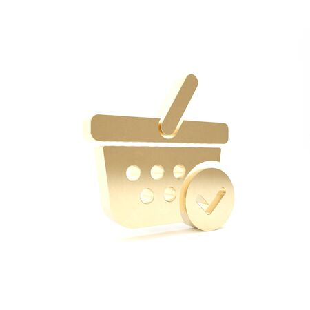 Gold Shopping basket with check mark icon isolated on white background. Supermarket basket with approved, confirm, tick, completed symbol. 3d illustration 3D render