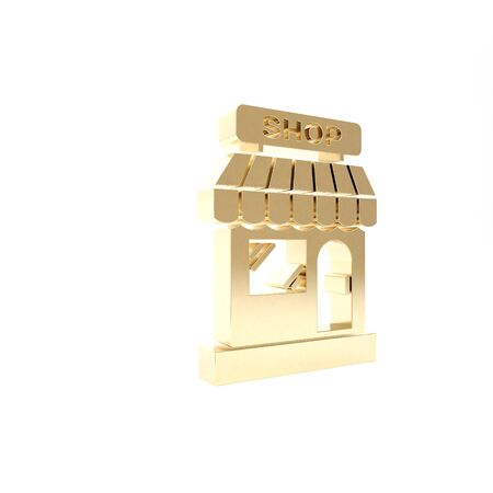 Gold Shopping building or market store icon isolated on white background. Shop construction. 3d illustration 3D render Stok Fotoğraf - 133416370