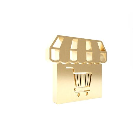 Gold Shopping building or market store with shopping cart icon isolated on white background. Shop construction. Supermarket basket symbol. 3d illustration 3D render Stok Fotoğraf