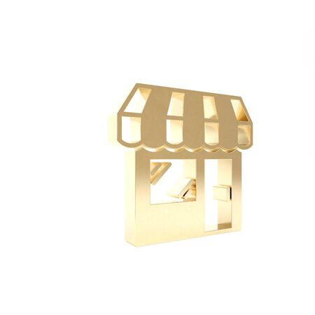 Gold Shopping building or market store icon isolated on white background. Shop construction. 3d illustration 3D render Stok Fotoğraf - 133416372