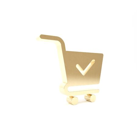 Gold Shopping cart with check mark icon isolated on white background. Supermarket basket with approved, confirm, done, tick, completed symbol. 3d illustration 3D render Stock Photo