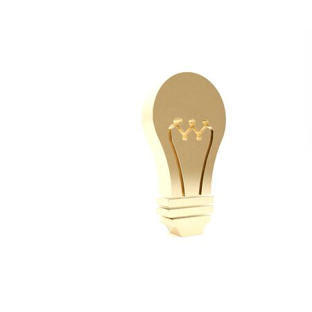 Gold Light bulb icon isolated on white background. Energy and idea symbol. Lamp electric. 3d illustration 3D render