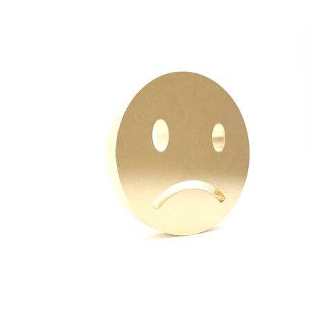 Gold Sad smile icon isolated on white background. Emoticon face. 3d illustration 3D render Banco de Imagens